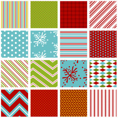 Holiday seamless background patterns in bright red, green and aqua blue. File includes: snowflake, stripe, polka dot, gingham, diamond, knit and pillow ticking print.