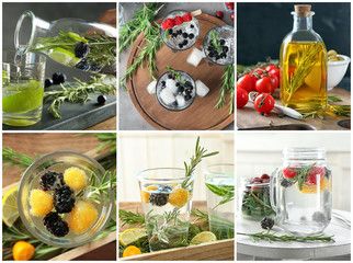 Set of different refreshing drinks and oil with rosemary
