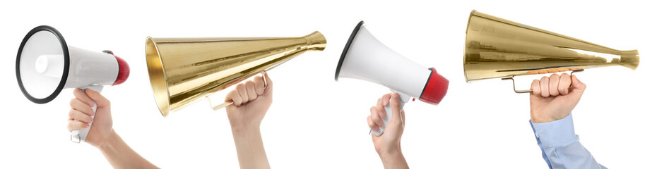 Set of people with different megaphones on white background