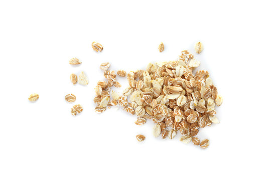 Raw oatmeal on white background. Healthy grains and cereals