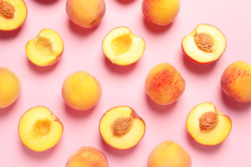 Printed roller blinds Fruits Flat lay composition with ripe peaches on color background