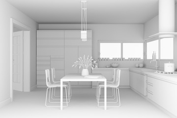 Interior design modern kitchen model