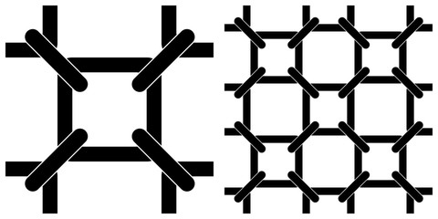 Single layer of flat style vector illustration of network linkage or chain link fence on transparent background.