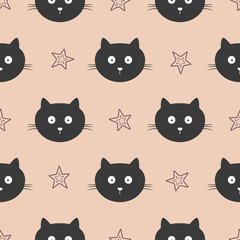Repeated faces of funny cats and outlines of stars. Cute seamless pattern for children. Endless cartoon print.