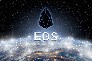 Concept of EOS coin Levitating  over world network, a Cryptocurrency blockchain platform , Digital money