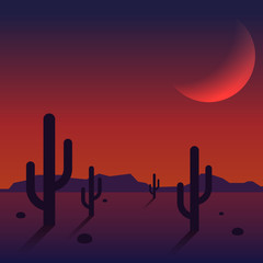 Desert landscape sunset with mountain range and cactus background