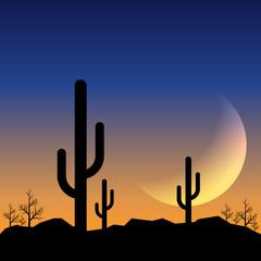 Desert landscape sunset with mountain range and cactus background