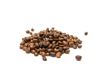 coffee beans, roasted coffee isolated on white background