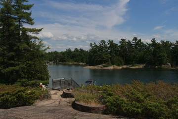 Wide view of cottage country, from a top a lookout tower, brightly colored.