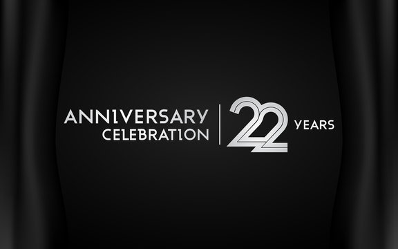 22 Years Anniversary Logotype with   Silver Multi Linear Number Isolated on Dark Background