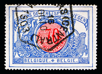 Railway Stamp: Middle in different colors, serie, circa 1902