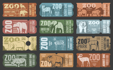Zoo park tickets with african and forest animals Wall mural