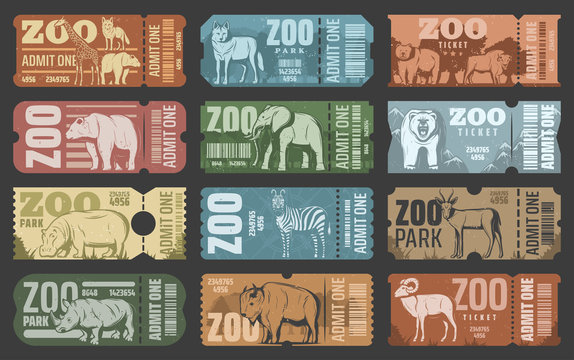 Zoo park tickets with african and forest animals