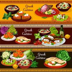 Greek cuisine banners, mediterranean food dishes