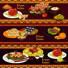 Korean cuisine banners with food and desserts