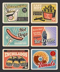 Fast food restaurant menu retro posters