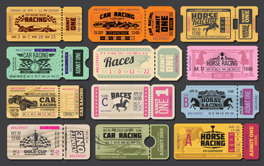 Car and horse racing retro tickets Wall mural