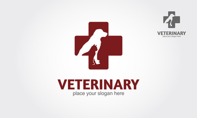 Isolated red veterinary cross and pets on white background