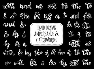 Ampersand or catchword lettering, vintage font