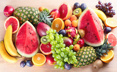 Healthy organic fruits background.