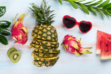 Summer tropical fruits.