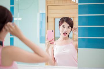 beauty woman selfie happily