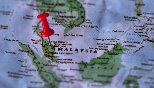 Close up the county of malaysia on world map,Pushpin marking of malaysia map