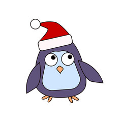 A cartoon penguin in the cap of Santa's assistant. Character for Christmas and New Year's design. Vector illustration