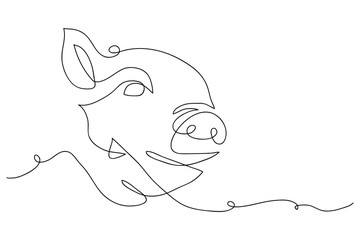 continuous line drawing of cute pig  illustration simple concept zodiac pig.