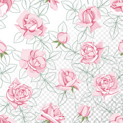 Pink roses and a contour of leaves. Floral seamless pattern on isolated background.
