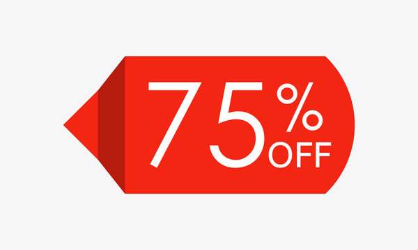 75 percent off. Sale and discount price tag, icon or sticker. Vector illustration.