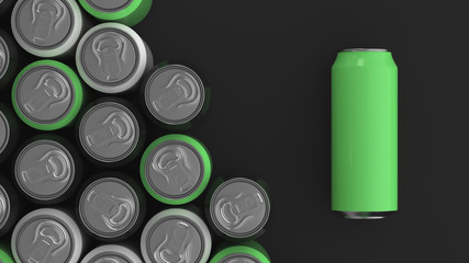 Big black, white and green soda cans on black background