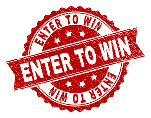 ENTER TO WIN seal print with corroded texture. Rubber seal imitation has circle medallion shape and contains ribbon. Red vector rubber print of ENTER TO WIN tag with scratched texture.