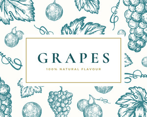 Hand Drawn Grapes Illustration Card. Abstract Vector Grape Bunch and Leaves Sketch Background with Classy Retro Typography.