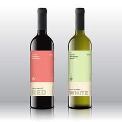 Premium Quality Red and White Wine Labels Set on the Realistic Vector Bottles. Clean and Modern Minimalist Design with Stylish Minimal Typography.