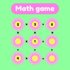 Vector illustration. Math game for preschool and school age children. Count and insert the correct numbers. Multiplication. Glade with pink flowers.