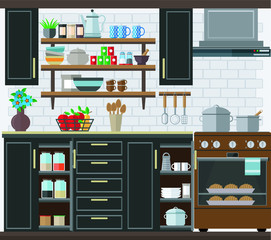 Fashionable and stylish kitchen, a set of kitchen utensils and furniture. Vector illustration on the theme of the interior.