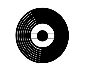 Vector illustration of a vinyl record in realistic retro design style. Black musical long play album icon isolated on white back