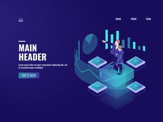 Man look graphic chart, business analytics concept, big data processing icon, virtual reality interface, server room admin administrator, isometric illustration vector neon
