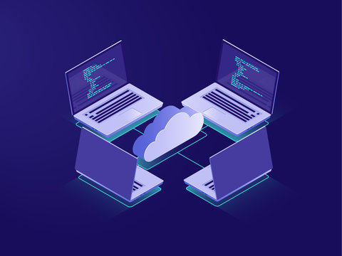 Networking with four laptops, internet connection, cloud data storage, server room, backup files, database remote access isometric illustration vector neon