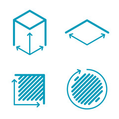Size, square, area concept line icons. Volume, capacity, acreage outlined symbols and pictograms. Size and square dimension and measuring vector linear icon set. Thin outline infographic elements.