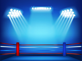 Boxing ring surrounded by spotlight with isolated blue background