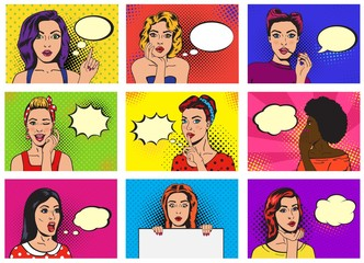 In de dag Pop Art Comic woman vector popart cartoon girl character speaking bubble speech or comicgirl illustration female set of beautiful lady pinup with pretty face in fashion style on background
