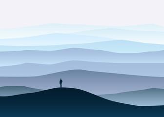 Minimalistic mountain landscape, lonely explorer, horizon, perspective, vector, illustration, isolated, cartoon style