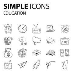 Education - set of thin line vector icons. Concept of education. Set of icons on the school theme.