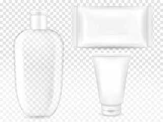 Cosmetic containers vector illustration of 3D realistic model templates for brand. Isolated set of transparent shampoo or cleanser bottle, facial cream tube and wet wipes or towels sachet