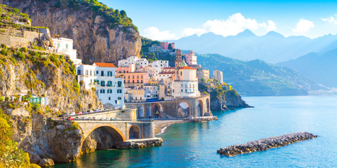 Zelfklevend Fotobehang Kust Morning view of Amalfi cityscape on coast line of mediterranean sea, Italy
