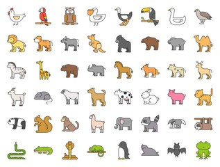 Big set of safari, arctic, forest animal and bird such as tiger, seal, camel, sloth, kangaroo, frog, pelican, parrot, toucan icon, filled outline icon