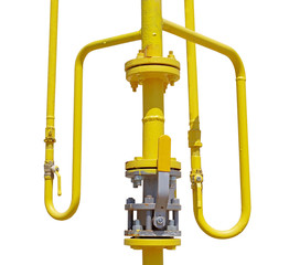 metal pipe with valve on white