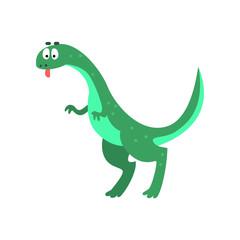 Cute cartoon brachiosaurus dinosaur, prehistoric dino character vector Illustration on a white background